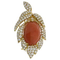 Coral Diamond Gold Brooch Pendant