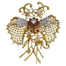 Ruby Diamond Gold  Butterfly Brooch