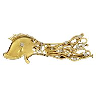 Diamond Gold Fish Brooch