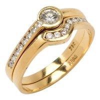 Twin Diamond Gold Rings