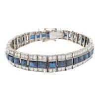 Art Deco Sapphire Diamond Platinum Tennis Bracelet