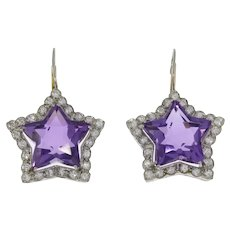Amethyst Diamond Platinum Star Shaped Earrings