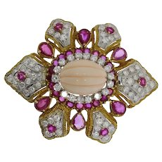 Coral Diamond Ruby Gold Brooch/Pendant