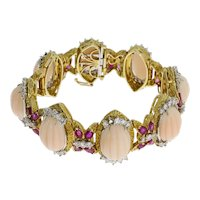 Coral Diamond Ruby Gold Link Bracelet