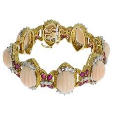 Coral Diamond Ruby Gold Link Bracelet