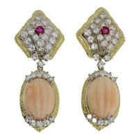 Coral Diamond Ruby Gold Dangle Earrings