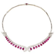 Art Deco Ruby Diamond Gold Necklace