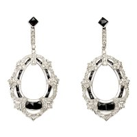 1920s Diamond, Onyx, Platinum Earrings
