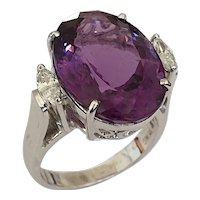 Amethyst Diamond White Gold Cocktail Ring