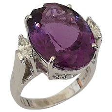 Amethyst Diamond White Gold Cocktail Ring