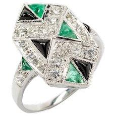 Art Deco Emerald Diamond and Onyx 18 Carat White Gold Ring