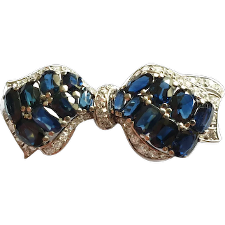 Bow Brooch with Sapphires and Diamonds