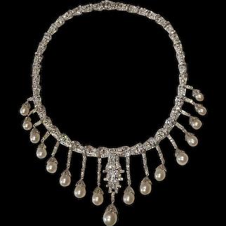 Art Deco Pearl Diamond White Gold Necklace