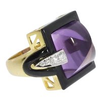 Amethyst Diamond Onyx Cocktail Ring