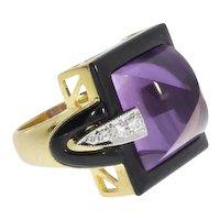 Amethyst Diamond Onyx Cocktail Ring