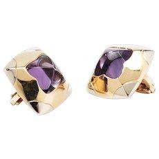 Bulgari Two-Color Pyramid Amethyst Gold Ear Clips