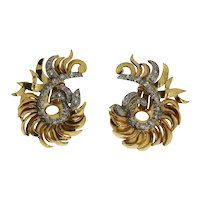 Pair of Floral Diamond Gold Ear Clips