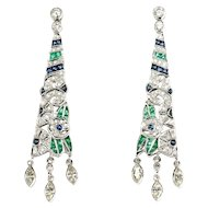 Diamond Emerald and Sapphire Dangle Earrings