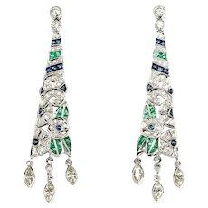 Diamond Emerald and Sapphire Dangle Earrings