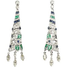 A 20s Diamonds, Emeralds and Sapphire Earrings