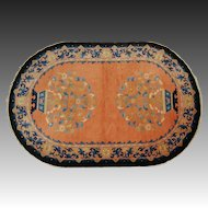Antique Oval Chinese Art Deco Rug