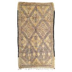 Vintage Moroccan  North African Beni Ouarain Berber Rug