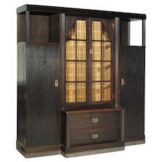 Art Nouveau ( Jugendstil ) solid oak bookcase circa 1905