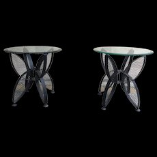 Mid-Century Modern pair of wrought iron side tables, France 1950's