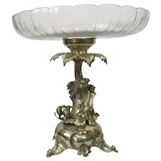 Antique 19th century silver fruit tray with leopard & deer figures circa 1880 Germany
