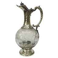 French 19th century silver wine jug circa 1880