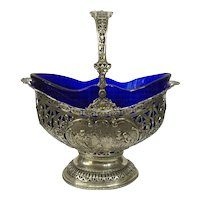 Silver fruit basket with cobalt blue glass, mid 19th century Dutch