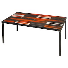 "Mid-Century Modern coffee table by Roger Capron South of France Vallauris circa 1950 ""Navettes"" design"