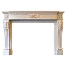 Antique Carrara Marble Louis XVI Style Fireplace