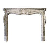 Antique French Bleu Fleuri Marble fireplace