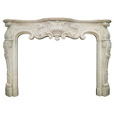 An Antique Rococo Louis XV Marble Fireplace
