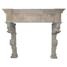 Monumental Antique Stone Renaissance Fireplace Mantel