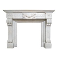 Antique Louis XVI Fireplace Mantel In Carrara  Marble