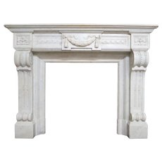 Antique Louis XVI Fireplace Mantel In Carrara  Marble