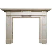Antique English Fireplace Mantel in Statuary White Marble