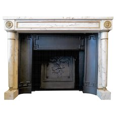 19th Century French Empire Fireplace In Breche Marble