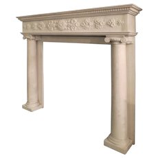 A Regency Statuary White Marble Fireplace