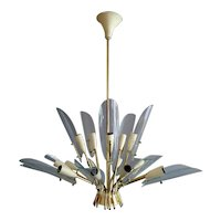 An Italian Brass and Glass Mid century Chandelier