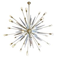 A Very Large Italian Brass and Glass Sputnik Chandelier