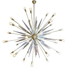 A Very Large Italian Brass and Glass Sputnik Chandelier