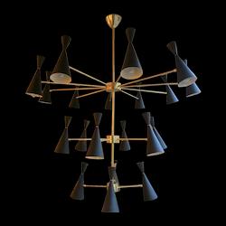 Large Italian Mid Century Style  Brass Chandelier
