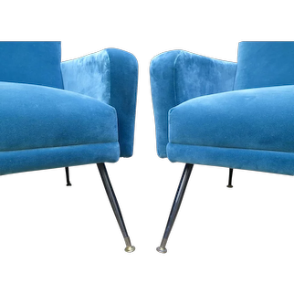 Pair of Large French Midcentury Armchairs