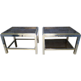 A Pair Of Brass and Chrome End Tables By Jean Charles