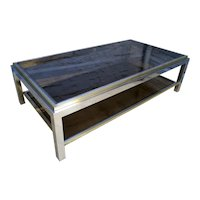 A French Brass and Chrome Coffee Table By Jean Charles