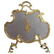 Gilt Brass Rococo Style Fire Screen