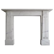 English Sir John Soane Style White Marble Fireplace Mantle